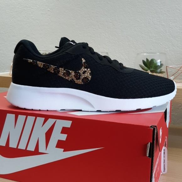 Nike Shoes - Leopard Spot Bling Nike Tanjun Black